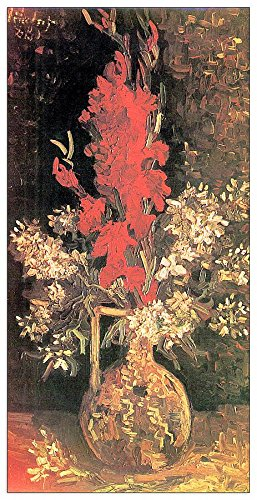 ArtPlaza Van Gogh Vincent vaas met gladiolas And Carnations decoratief aneel, hout, meerkleurig, 50 x 100 cm