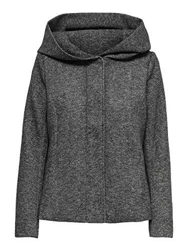 ONLY Damen Onlsedona Short Light Jacket OTW Jacke, Grau (Dark Grey Melange Dark Grey Melange), Small (Herstellergröße: S)