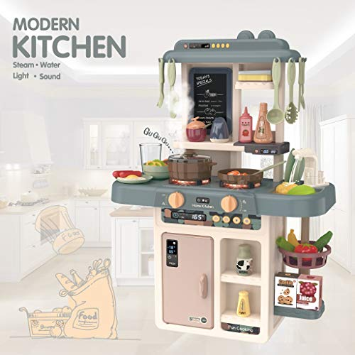 Kitchen Playset - Little Plastic Play Kitchen with Realistic Lights & Sounds, Real Cooking Spray and Water Sounds, Pretend Play Food Set Toy & Kitchen Accessories Set for Kids
