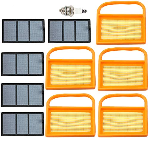 Leopop 5 pcs Air Filter Sets for Stihl TS410 TS420 TS 420 TS 410 Replace 4238 141 0300 Parts Kit Engine Chainsaw with Spark Plug