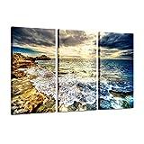 MYSY Cuadros de Lienzo Naturaleza Pinturas de la Costa Playa Puesta de Sol Azul Mar Obra de Arte Impresiones Arte de la Pared para la Sala de Estar Dormitorio Decoración-40x80cmx3 Piezas sin Marco