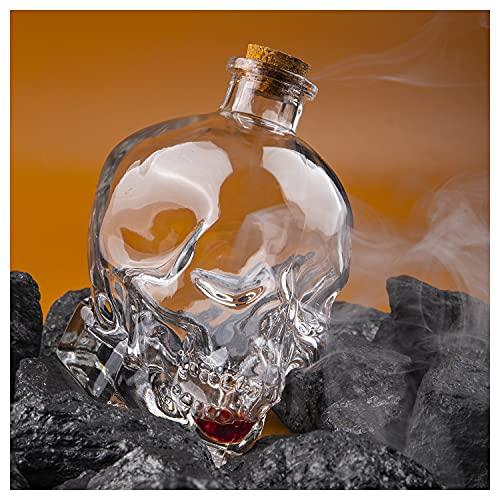 VOSOL 750ml Skull Whiskey Bottle Creative Glass Skull Decanter Bottle