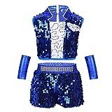 iEFiEL Kinder Mädchen Jazz Hip-Hop Tanzbekleidung Set Pailletten Top mit Shorts Minirock Performance-Kostüm Tanzkleid Blau A 128-140
