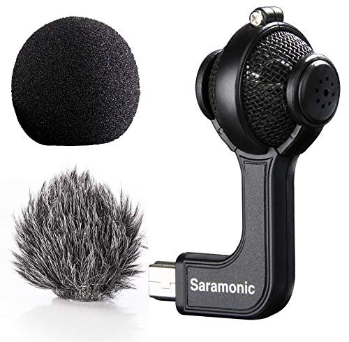 Saramonic G-Mic Stereo Ball Gopro Microphone with Foam & Furry Windscreens Compatible with GoPro HERO3, HERO3+ and HERO4