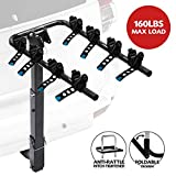 LITE-WAY 4-Bike Bicycle Hitch Mount Carrier Rack - Heavy Duty Bicycle Carrier Fit Most Sedans,...