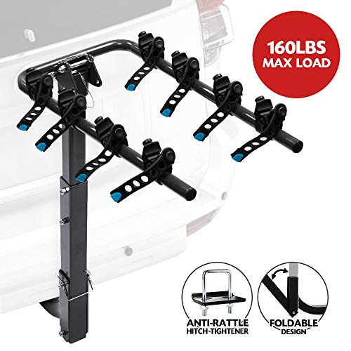 LITE-WAY 4-Bike Bicycle Hitch Mount Carrier Rack - Heavy Duty Bicycle Carrier Fit Most Sedans, Hatchbacks, Minivans, SUV (2 Inch Receiver), 1 Year Warranty