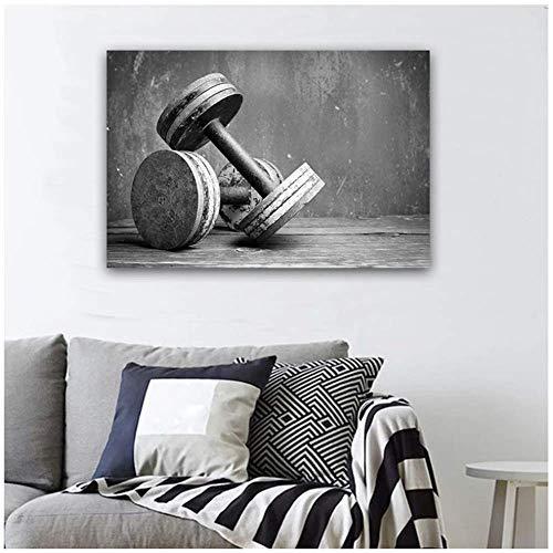LangGe Bild küche|30x40cm|Kein Rahmen|Große Größe Schwarz-Weiß-Hantel | nordische Art Wandkunst abstrakt gedruckt Giclée-Dekor Bilder