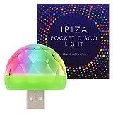 Luz de discoteca de alta calidad Ibiza - Se sincroniza automáticamente con el ritmo de la música - Mini luz RGB portátil USB ultrabrillante - Compatible con todos los teléfonos - (1 paquete)