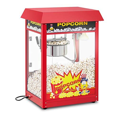 Royal Catering Retro Popcornmaschine RCPS-16EB Profi Popcorn Maschine 1495 W Popcorn Maker mit Arbeitszyklus 120 s Arbeitsleistung 5 kg/h Topfbeschichtung Teflon schwarzes Dach
