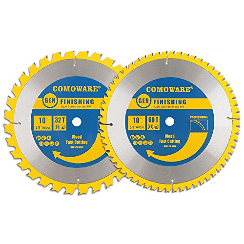 COMOWARE Circular Miter Saw Blade Set- Miter Saw Blade 10-inch 60 Tooth 10-Inch 32 Tooth ATB Premium Tip, Anti-vibration, 5/8 inch Arbor Light Contractor and DIY