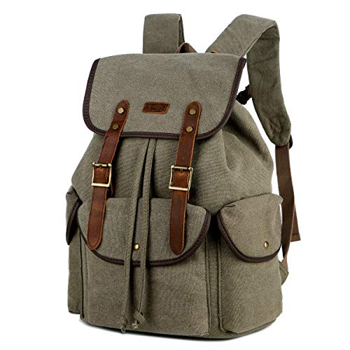 BAOSHA Canvas Leather Travel Laptop Backpack School College Computer Rucksack Satchel Bookbag Business Casual Daypack CN-01 (Amy Green)