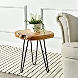 """WELLAND Live Edge Side Table with Hairpin Legs, Natural Edge Side Table, Small Nightstand Wood, 15.5"""" Tall"""