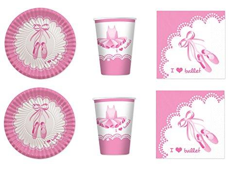 coordonné I Love Ballet Danse ballerine pour anniversaire événements décorations table Fête – Kit N ° 19 CDC- (32, 32 verres, 40 assiettes 40 serviettes)
