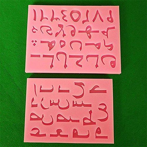 Fiesta Fullmold 2pcs Lettre de l'alphabet arabe Nombre Coque en silicone Fondant Moules Outils de décoration de gâteaux de fête Candy Moules à chocolat F522
