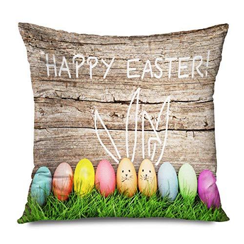 Mengghy Funda de cojín cuadrada de 45 x 45 cm, diseño de conejo, verde y pasto, para vacaciones, diseño rústico, conejo, primavera, pastel, divertida sonrisa, decoración del hogar, funda de cojín