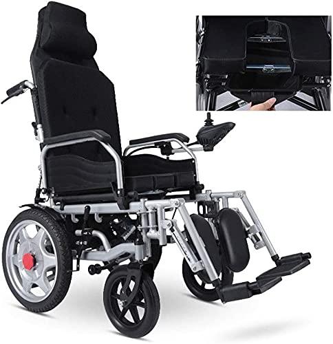 Inodoros portátiles para acampar Silla de ruedas eléctrica, doble scooter for ancianos, ruedas inflables, respaldo alto, motores duales reclinables completos, larga duración de la batería, marco de ac