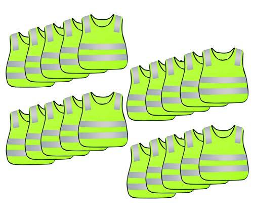 AIEOE 20 Stück Kinder Sicherheitsweste Hohe Sichtbarkeit Reflektierende Westen Warnwesten mit elastischen Bändern für Laufen Radfahren Joggen