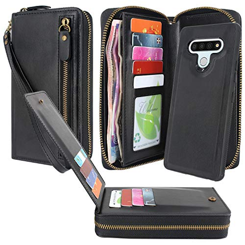 Lacass Dual Zipper Detachable Magnetic Leather Wallet Case Wristlets Clutch Handbag Purse with 13 Card Slots Money Pocket Shockproof Protection Back Cover for LG Stylo 6 2020 Case (Black)