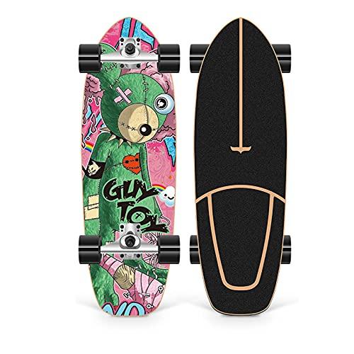 XKAI Surf Skates Skateboard para Principiantes CX4 Pumping Complete Adult Board Fancy Board Deck Longboard 75×23cm Madera de Arce Monopatin, Rodamientos de Bolas ABEC-11