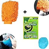 HOTKEI Multipurpose Car cleaning kit Interior AC Vent Dust Cleaning Slime Gel, Car Bike Vehicle Cleaning Washing Double Sided Mitt Hand Glove Chenille Sponge for Home Office kitchen Combo Pack