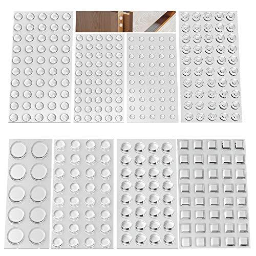 kkpai Gummifüße Selbstklebend, 346 Stück Gumminoppen für glasplatten Gummipuffer Selbstklebend Türpuffer Transparent Anschlagpuffer, Sound & Impact Dämpfung für Türen, Schränke,Tastatur(8 Größen)
