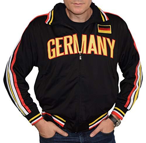 SpiritForged Apparel Germany Full Zip Sport Active Soccer Track Jacket, Black Large