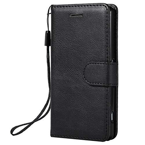 Hülle für Sony [Xperia Z3 Compact] Hülle Handyhülle [Standfunktion] [Kartenfach] Tasche Flip Case Cover Etui Schutzhülle lederhülle klapphülle für Xperia Z3 Compact - DEKT051754 Schwarz