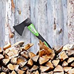 """WilFiks Chopping Axe, 15"""" Camping Outdoor Hatchet for Wood Splitting and Kindling, Forged Carbon Steel Heat Treated Hand… 10 ► EASY TO USE: Our Wood Chopping Axe is designed for easy chopping Of Firewood, Logs, Kindling and Branches. The Optimized blade geometry is designed for maximum efficiency to give you more one-strike splits. Ideal for campers, hikers, outdoor activities, preparing wood for bonfires and garden work. ► DURABLE CONSTRUCTION: The Forged Carbon Steel Heat Treated blade which improves its density and makes the axe more durable produces smooth, sharp, and quick splits and stays sharp longer than traditional axes. You can count on this Hand Axe to deliver superior, long lasting performance. ► ERGONOMIC DESIGN: Our Hatched is Designed with a Shock Absorbing Anti Slip Grip, Cold Resistant Ergonomic Shaped Fiberglass Handle which will reduce the strain on your hand, resists slipping and adds comfort."""