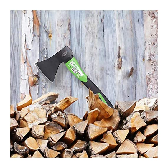 """WilFiks Chopping Axe, 15"""" Camping Outdoor Hatchet for Wood Splitting and Kindling, Forged Carbon Steel Heat Treated Hand… 4 ► EASY TO USE: Our Wood Chopping Axe is designed for easy chopping Of Firewood, Logs, Kindling and Branches. The Optimized blade geometry is designed for maximum efficiency to give you more one-strike splits. Ideal for campers, hikers, outdoor activities, preparing wood for bonfires and garden work. ► DURABLE CONSTRUCTION: The Forged Carbon Steel Heat Treated blade which improves its density and makes the axe more durable produces smooth, sharp, and quick splits and stays sharp longer than traditional axes. You can count on this Hand Axe to deliver superior, long lasting performance. ► ERGONOMIC DESIGN: Our Hatched is Designed with a Shock Absorbing Anti Slip Grip, Cold Resistant Ergonomic Shaped Fiberglass Handle which will reduce the strain on your hand, resists slipping and adds comfort."""