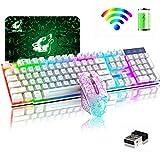Teclado inalámbrico Combo de mouse Rainbow retroiluminado 2.4G Recargable 104 teclas Teclado para juegos + 2400DPI 6 botones Optical Rainbow LED Gaming Mouse + Mouse para PC Laptop