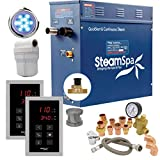 SteamSpa Executive 9 KW QuickStart Acu-Steam Bath Generator Package with Built-in Auto Drain in Brushed Nickel...
