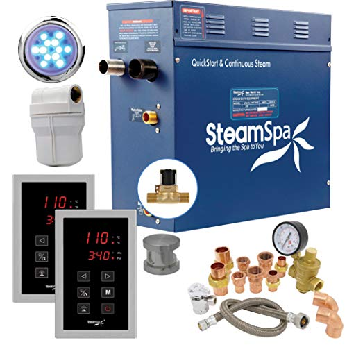 SteamSpa Executive 9 KW QuickStart Acu-Steam Bath Generator Package with Built-in Auto Drain in Brushed Nickel | Steam Generator Kit with Dual Control Panel Steamhead 240V | EXT900BN-A