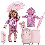 Uteruik Maleta impermeable para muñeca de 46 cm/18 pulgadas – Impermeable brillante, estuche de viaje, paraguas, botas trajes de vestuario, 4 unids/set (#B)