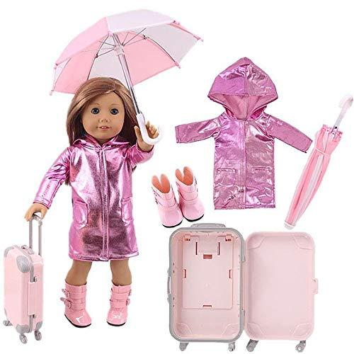 Uteruik - Maleta impermeable para muñeca de 46 cm y 18 pulgadas American Girl Doll - Chubasquero brillante, funda de viaje, paraguas, accesorios de disfraces, 4 piezas/set (#B)