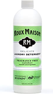 Roux Maison Delicate Laundry Detergent - Odor Eliminator HE Detergent, All Natural Laundry Detergent, Up to 40 Machine Wash Loads or 80+ Hand Washes - Fragrance Free 16oz.