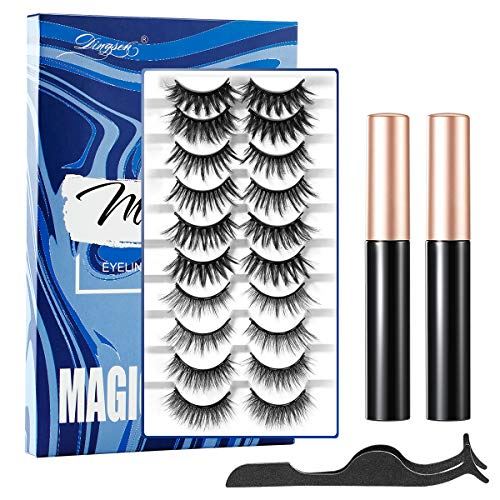 Vintoney Ciglia Finte Magnetiche Eyeliner Magnetico Impermeabile e Set Di Ciglia Finte...