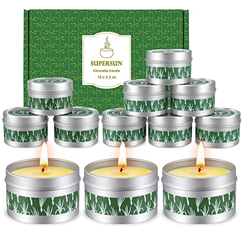 SUPERSUN 240hrs Citronella Candles Outdoor & Indoor (12x2.5oz), Soy Wax Garden Citronella Oil Candle Set