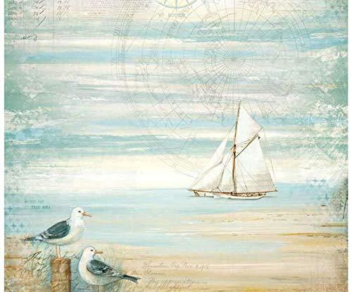 Papel de arroz, el Mar Y el Barco, Stamperia, 50x50cm, Decoupage Arroz Papeles, Hobby Colores