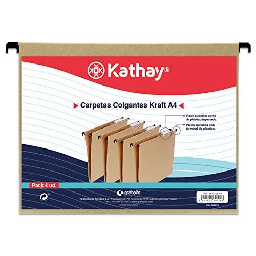 Kathay 86010649. Paquete de 4 Carpetas Colgantes A4 para Cajón, color Kraft, Visor de Plástico, Pestañas y Varilla