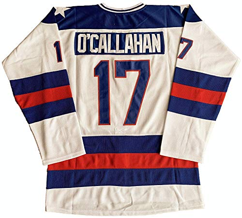 1980 USA Olympic Hockey #21 Mike Eruzione #17 O'Callahan #30 Jim Craig Miracle On Ice USA Jersey White Blue (17 White, X-Large)