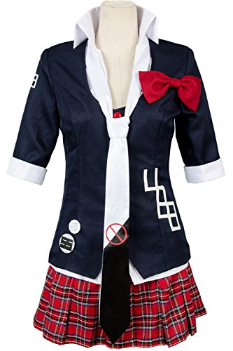 UU-Style Women;s Jacket Coat Tie Top Skirt Unfirom Junko Enoshima Cosplay Costume (Black, Women:XX-Large)