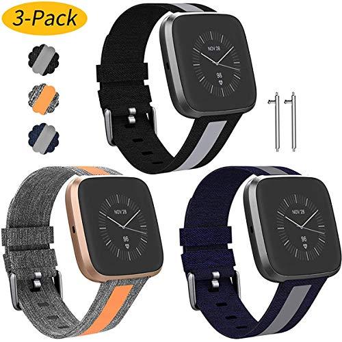 Shieranlee Woven Compatible con Fitbit Versa 2/ Versa/Versa Lite,Suave Silicona de Ajustable Deportiva Pulsera de Reemplazo Compatible para Versa Smart Watch