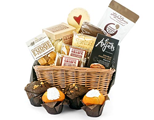 Muffin, Flapjack & Sweet Share Basket - Hand Wrapped Food Basket, in Gift Hamper Box