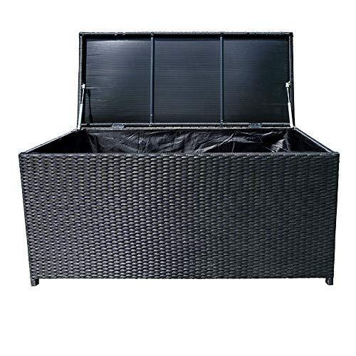 LZQ Auflagenbox Wasserdicht 115x55x57 cm Poly Rattan Rollbar 2 Gasdruckfedern Kissen Garten Box Schwarz 360L