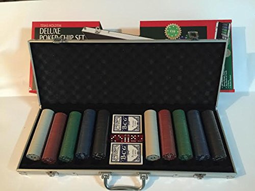 Set kit poker TEXAS HOLD'EM in valigetta 500 fiches chips con dealer carte e dadi
