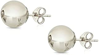 14K Gold Ball Stud Earrings, Sizes 3MM-8MM (Yellow Gold, White Gold, Rose Gold)