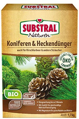 Substral Naturen Bio Koniferen- und Hecken, Organisch-mineralischer Volldünger für alle Nadelgehölze und Heckenpflanzen mit natürlicher Langzeitwirkung, 1,7 kg