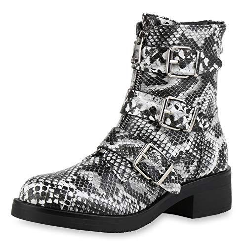 SCARPE VITA Damen Biker Boots Leicht Gefütterte Stiefeletten Snake Print Leder-Optik Stiefel Schnallen Zipper 185294 Schwarz Weiss Snake 38
