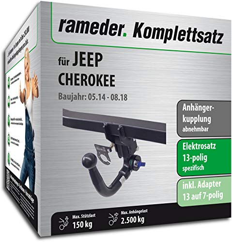 Rameder Komplettsatz, Anhängerkupplung abnehmbar + 13pol Elektrik für Jeep Cherokee (123569-11738-2)