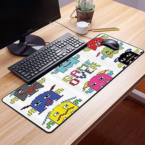 Comfortable Mouse Pad 60x35 cm,Conjunto de acciones de los 90, Emoticones de robot de píxeles,Impermeable con Base de Goma Antideslizante,Special-Textured Superficie para Gamers Ordenador, PC y Laptop